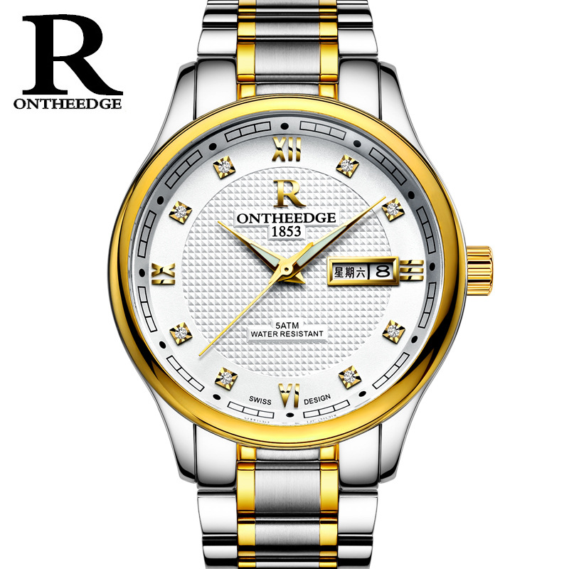 Relojes High quality New Luxury Business Full Steel Quartz Watch Men Double calendar Roman Numerals Luminous Waterproof Watch Ch цена
