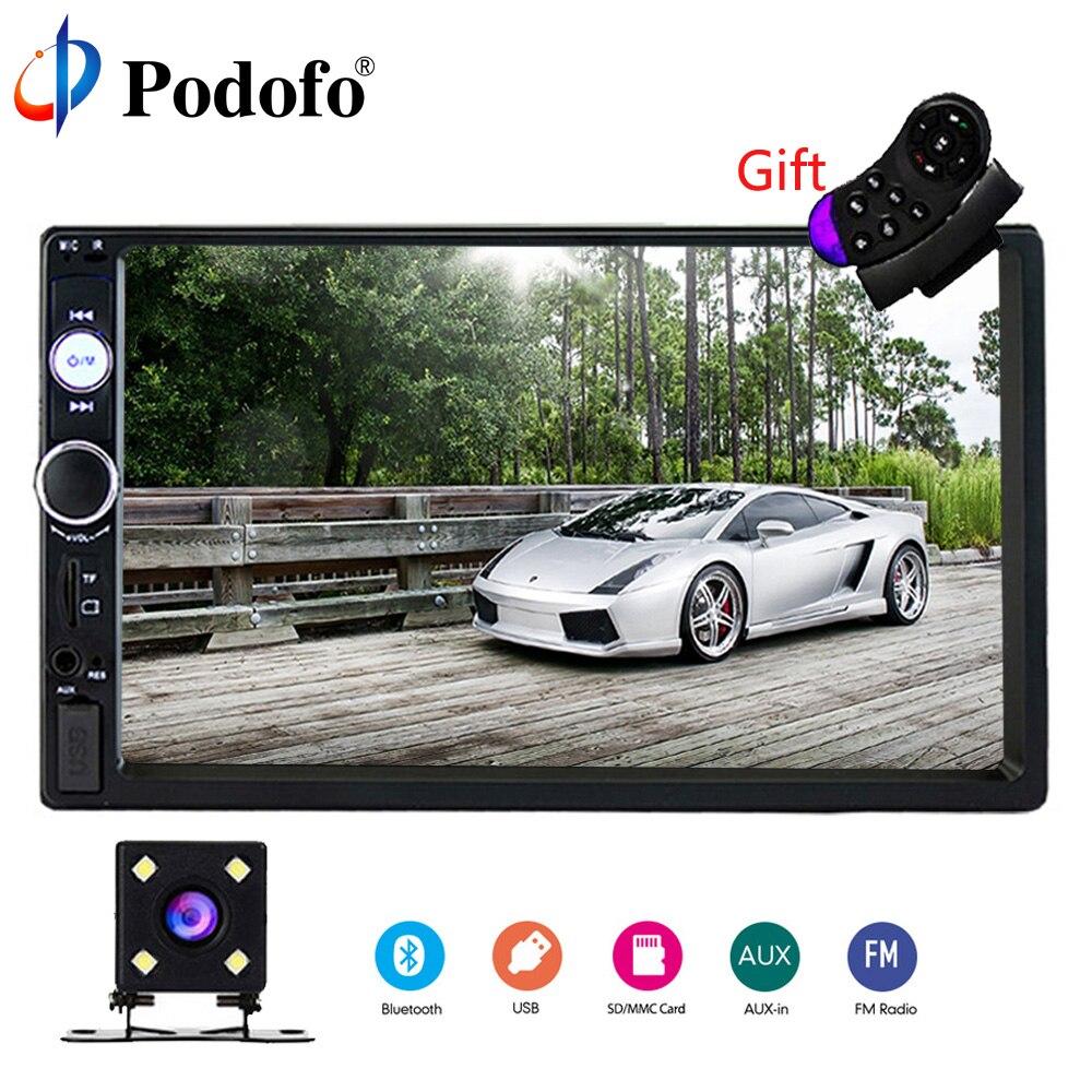 Podofo 2 Rádio Do Carro um Din 7 Bluetooth Stereo Multimedia player Autoradio MP3 MP5 Rádio Auto Tela de Toque Suporte Traseiro câmera de visão