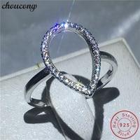 Choucong joyería hueco forma de pera real sólido 925 de plata esterlina anillo aaaaa ZIRCON engagement wedding band Anillos para las mujeres hombres