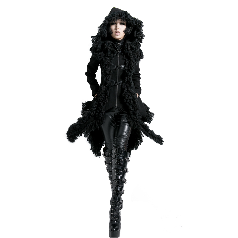 Punk Worsted Hooded Jacket with Lace Steampunk Women Asymmetrical Black Long Coats