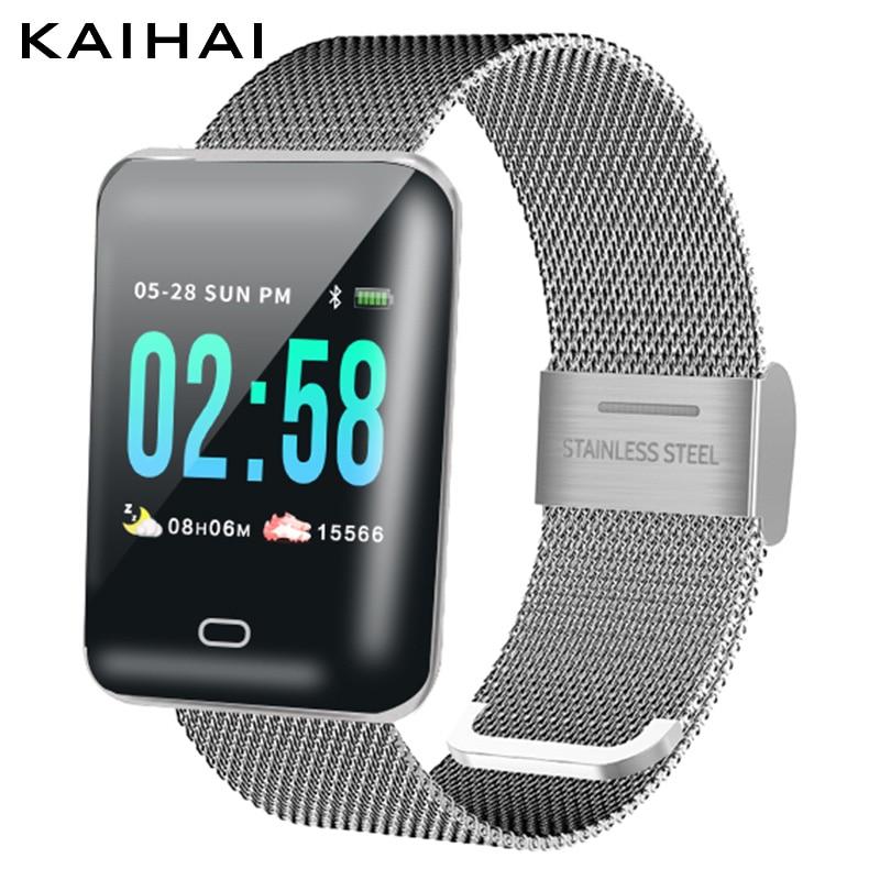 Galleria fotografica KAIHAI HB8 smart watch Sonno monitor <font><b>smartwatch</b></font> Frequenza Cardiaca Misuratore di pressione Sanguigna di ossigeno relógios fascia in acciaio inox per ios Android