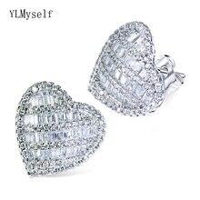 Очаровательные серьги с большим сердцем cz блестящий кристалл