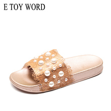 E TOY WORD Summer Women shoes Fashion soft slippers Pearl lace sandals comfortable Plus Size Female