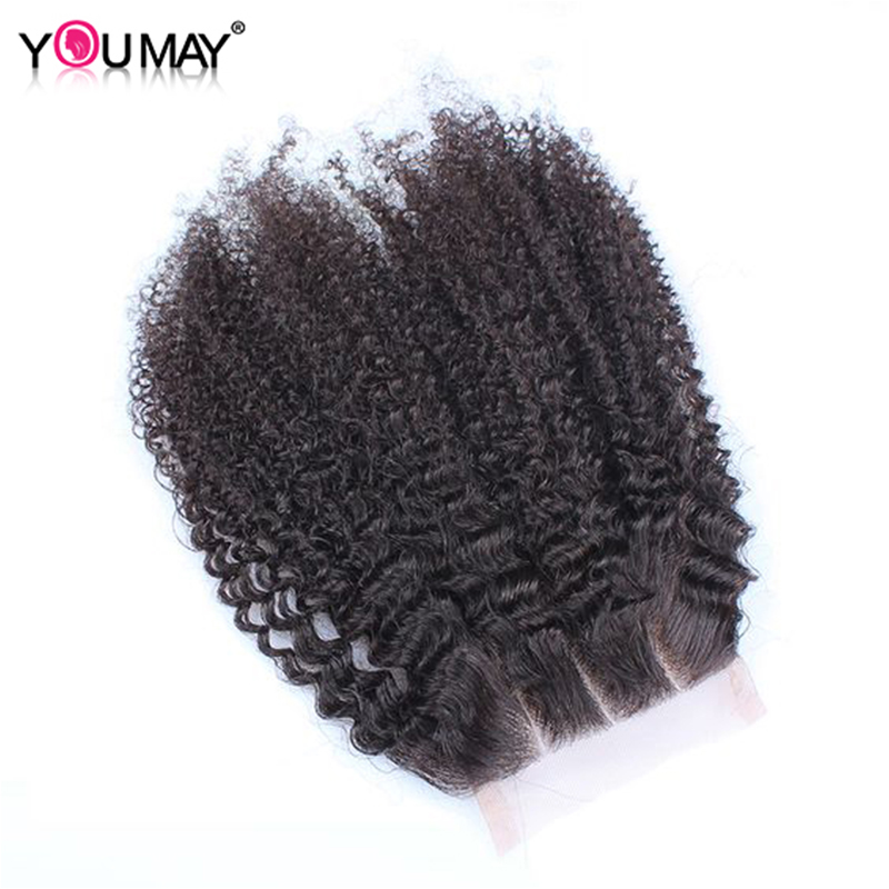 4x4 Lace Closure Three Part Mongolian Afro Kinky Curly Closure Pre Plucked Human Remy Hair With