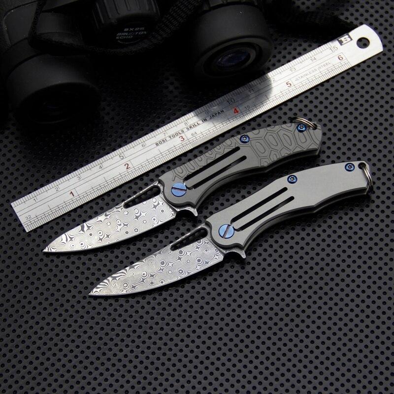 Mini couteau pliant damas, couteau à lame pliante tactique en acier damas VG-10, couteaux de poche d'extérieur, couteaux de Camping EDC