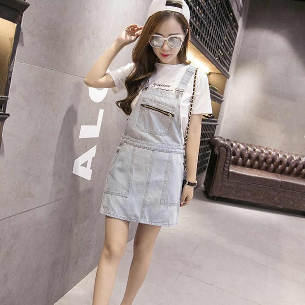 4f278eb5fce Women Light Blue Denim Suspender Skirts Summer Fashion Casual Jeans Skirt  All Match Clothes Girl Skirt