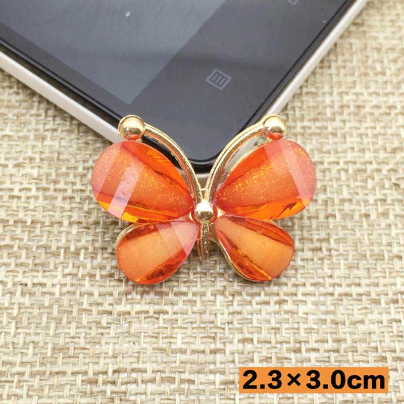 REGELIN 5 pçs/lote Moda colorida Resina borboleta escudo do telefone Móvel diy jóias artesanais acessórios para o cabelo material de BRICOLAGE