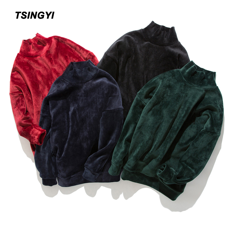 Tsingyi Pullover Solid Astroworld Hoodies Men Women Kanye Streetwear Hip Hop Turtleneck Hoodie Homme Gold Velvet 5XL Sweatshirts