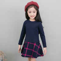 Girls Dresses Long Sleeve Plaid Dresses For Girls Autumn Spring Bottoming Dress For School Clothing 2 3 4 6 8 9 Year