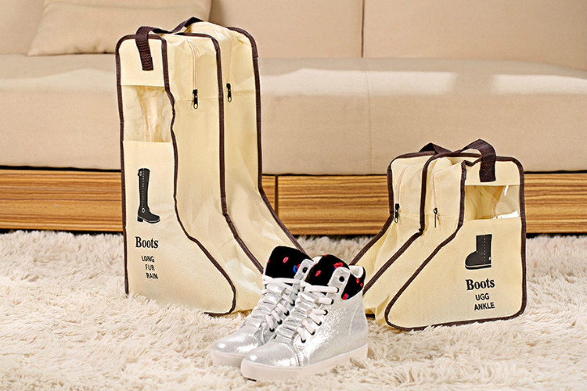 Portable Low Shoes Storage Bags Hanging Closet Shoe Cover Boots Organizer  Storaging Bag With Zipper Boot