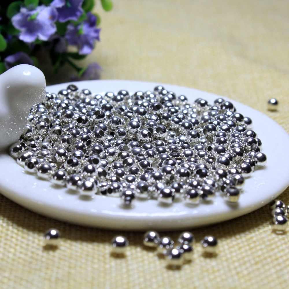 Toptan 500 Adet çok 3mm Metal Gümüş Kaplama Yuvarlak Paspayı Boncuk Takı Yapımı Için diy bilezik Kolye Malzeme Bulguları