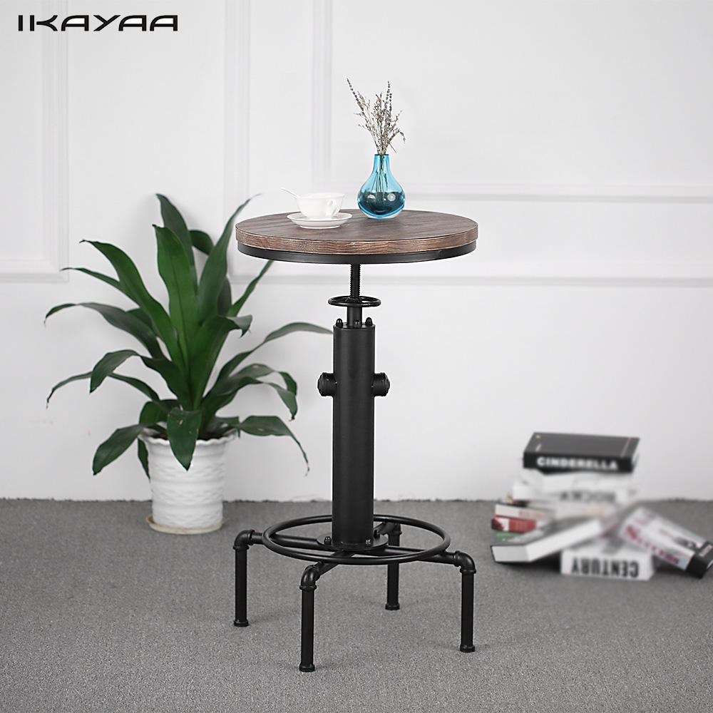 Us 81 04 46 Off Ikayaa Pipe Style Kitchen Dining Table Pinewood Top Round Pub Bar Height Adjule Swivel Counter Bistro In