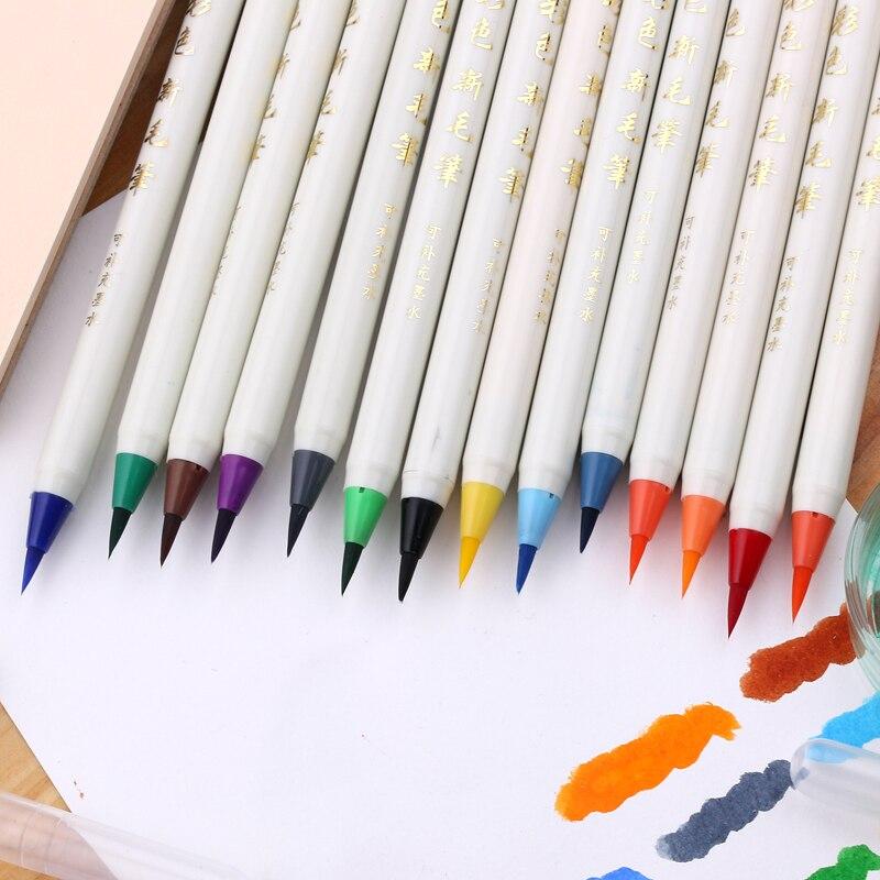 7 pcs/lot Platinum Diversity Color Brush Pen Refillable Soft Nylon Calligraphy Watercolor Pen Painting Supplies