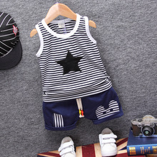 Baby Boys Summer Clothing Sets Clothes Striped Pentagram Tops +Denim Shorts 2 Pc Suit Infant Gentleman Outfits
