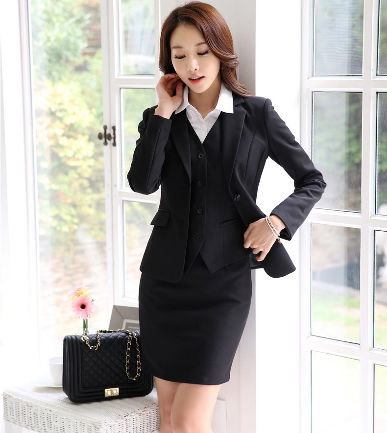 Novelty Black Professional Autumn and Winter Formal Blazers Business Suits with Skirt +Jacket + Waistcoat Ladies Outfits Sets