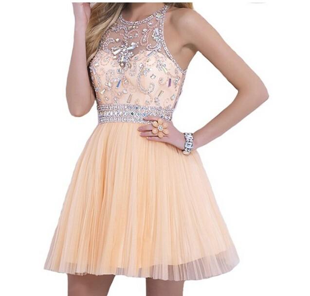 Crystal Beads A-line Draped Bridesmaid Short Dress