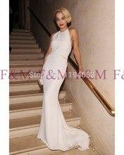 2016 Maß Neueste Sexy Lady Schöne New Fashion Design Elegante Halter Enge Mantel Weiß Bodenlangen Abendkleid