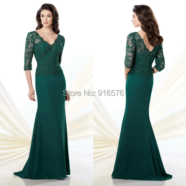 b38ea1f2c43 Hunter Green Beaded Lace Mother Of The Brides Dress With Three Quarter  Sleeves A Line Chiffon Floor Length-in Mother of the Bride Dresses from  Weddings ...