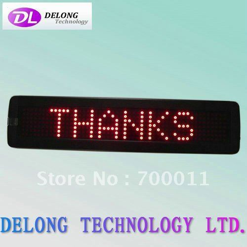 7*50pixel P7.62 English dot matrix red single color indoor led display panel,remote control,free shipping to USA and Canada