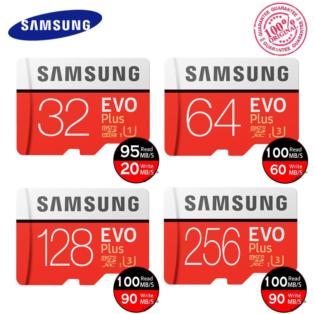 Original SAMSUNG EVO Plus Memory Card 64GB U3 EVO + 128GB 256GB Class10 Micro SD Card 32GB 16GB