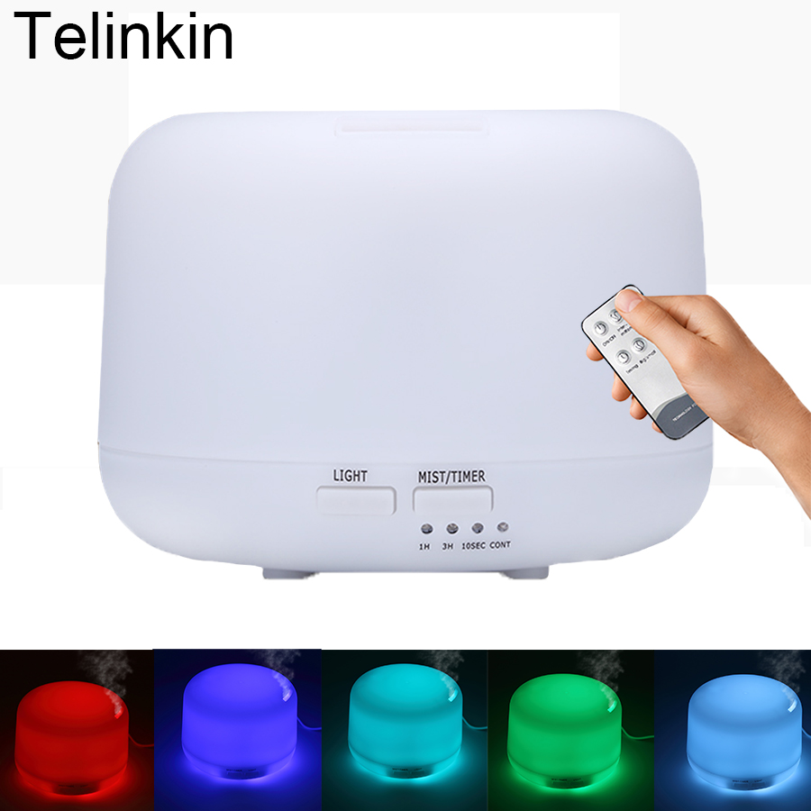 Telinkin 300 ml Luftbefeuchter Aroma Air Elektrische für home yoga mit 7 Farbe Lichter Fernbedienung Ätherisches Öl Diffusor für büro