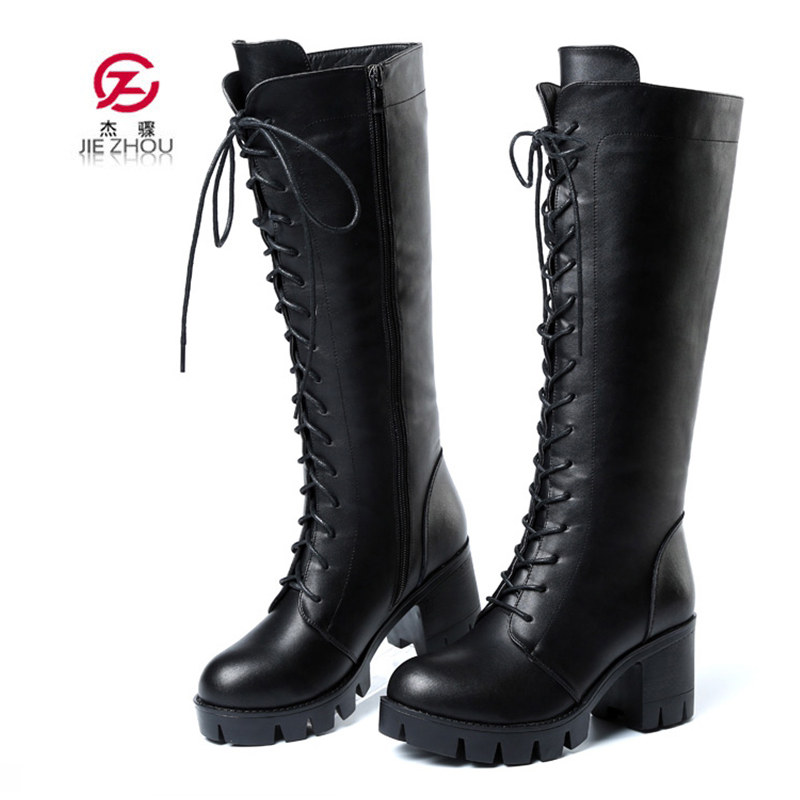 New Winter Thigh High Boots Female Cross tied Boots Women Knee High Boots Genuine Leather Motorcycle boots Fashion Shoes woman тюбинг belon тент спираль аквапарк 85см