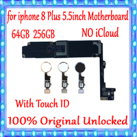 For iPhone 8 Plus Motherboard with Touch ID/without Touch ID Original unlocked for iphone 8 Plus Logic board 64GB / 256GB Plate
