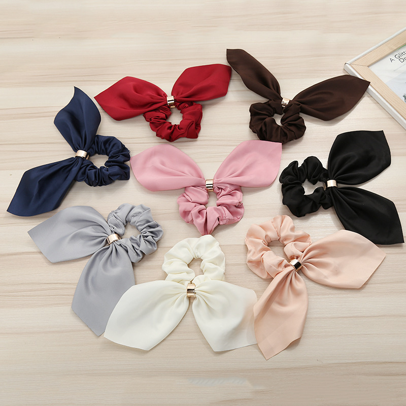 Bow Elastic Hair Bands Women Rabbit Ears  Ponytail  Sweet  Cute Solid Color Metal Button Headwear Fixed  Hair Accessories