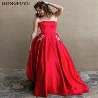 Elegant Satin Boat Neck With Pockets Long Prom Dresses 2019 Beading Sleeveless Lace Up A Line Floor Length Prom Dress HFY112301