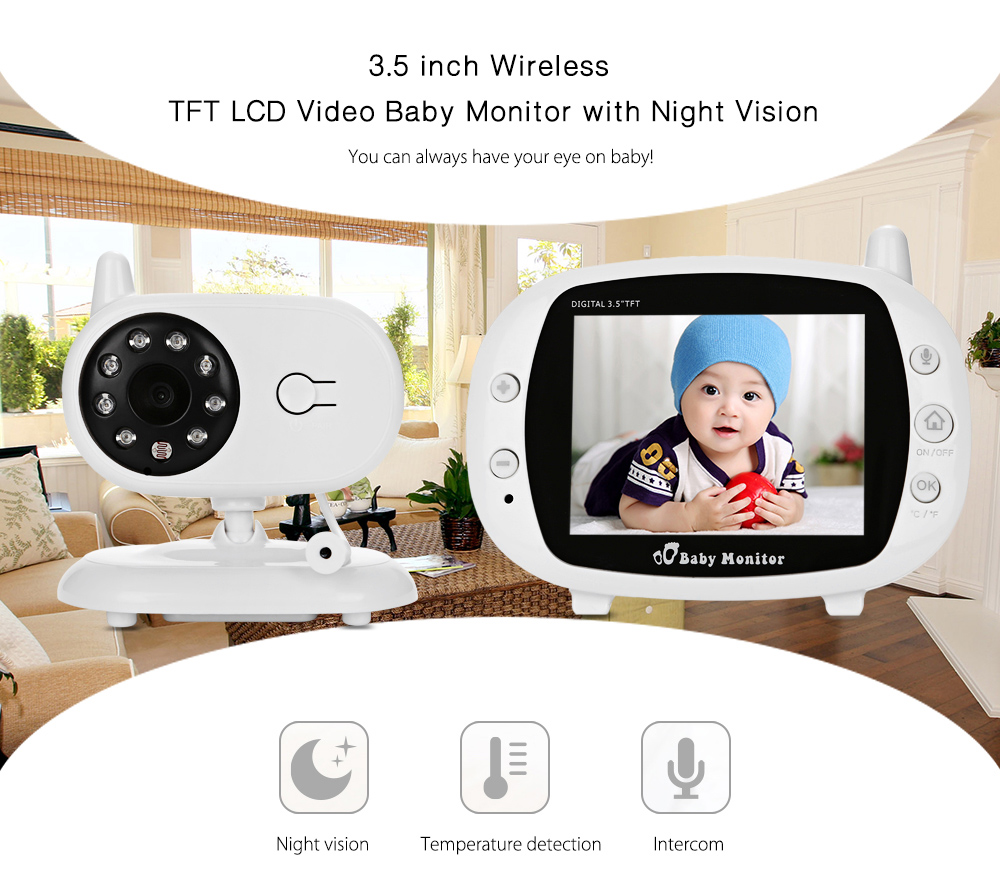 bilder für 3,5 zoll Drahtlose Nachtsicht TFT LCD Video Baby Monitor 2-wege-audio Infant Baby Kamera Digital Video Kindermädchen babysitter