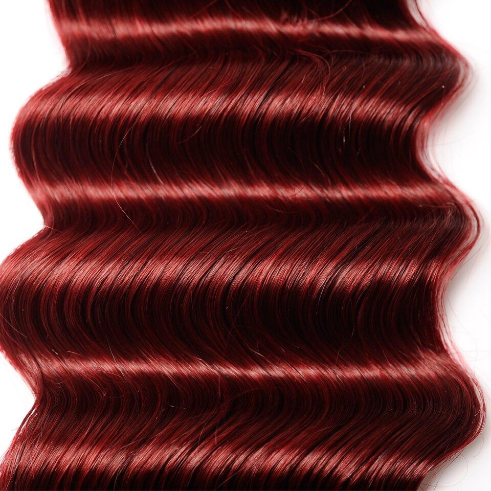Pinshair бордовый 99J Бразильский распущенные волосы глубокая волна 4 Связки с Синтетическое закрытие волос смелый красный Человеческие волосы ...