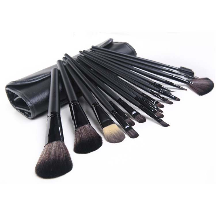 High Quality Professional 32pcs Cool Black Make Up Brushes Tools Soft Persia Wool Comestic Brushes Print