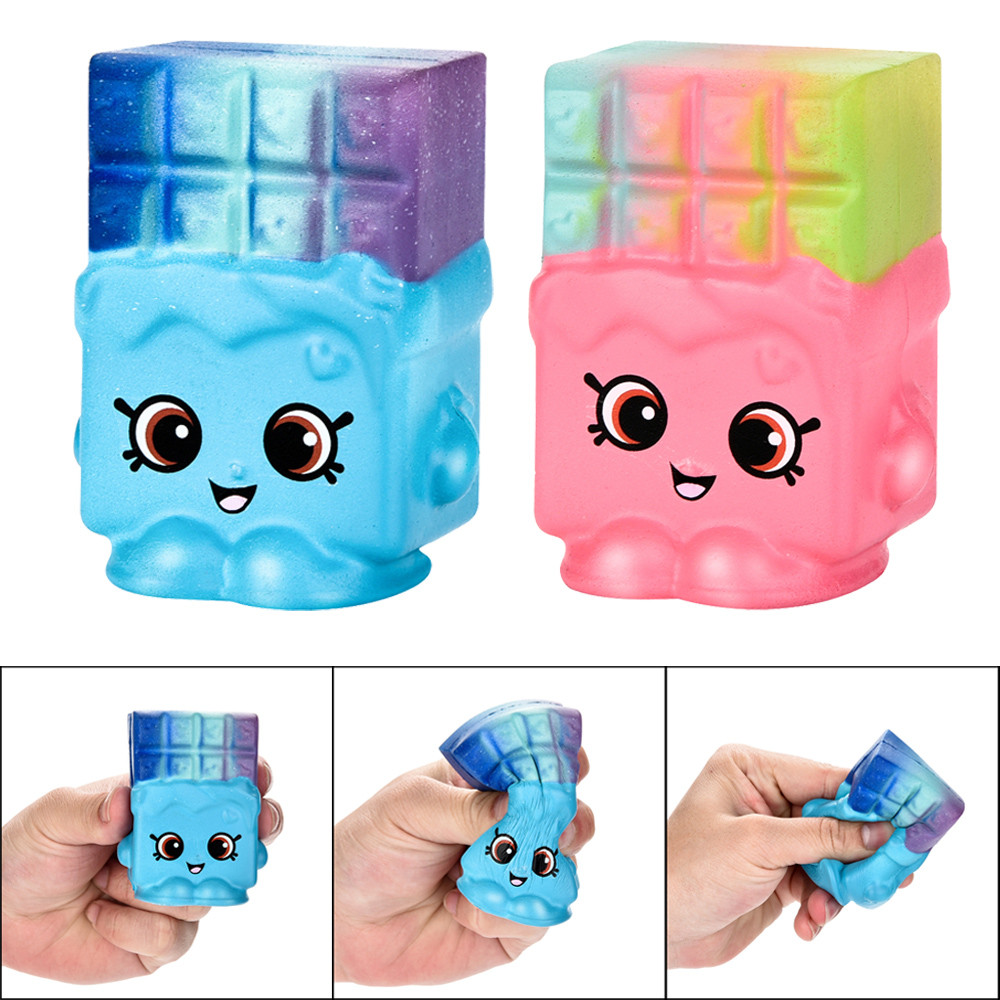 Cute Waffle Toast Bread Squishy Charm Slow Rising Squeeze Toy Gift Fun Antistresses Stress Reliever Decor Collection MA29f