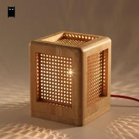 Oak Wood Box Square Table Lamp Fixture Modern Rustic Nordic Korean Asian Japanese Desk Light Luminaria Bedroom Bedside E27 Base