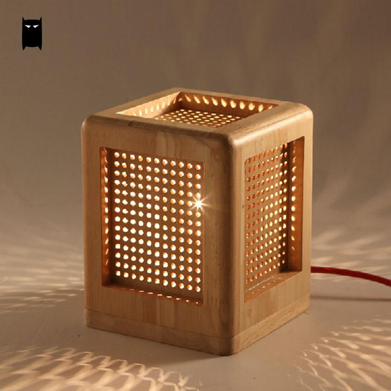 Oak Wood Box Square Table Lamp Fixture Modern Rustic Nordic Korean Asian Japanese Desk Light Luminaria Bedroom Bedside E27 Base