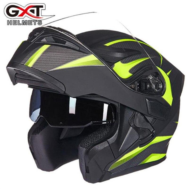 GXT 902 casque de moto moto Double visières casque de moto intégral course moto moto rbike Filp Up Cool hommes équitation casque de moto rcycle casco