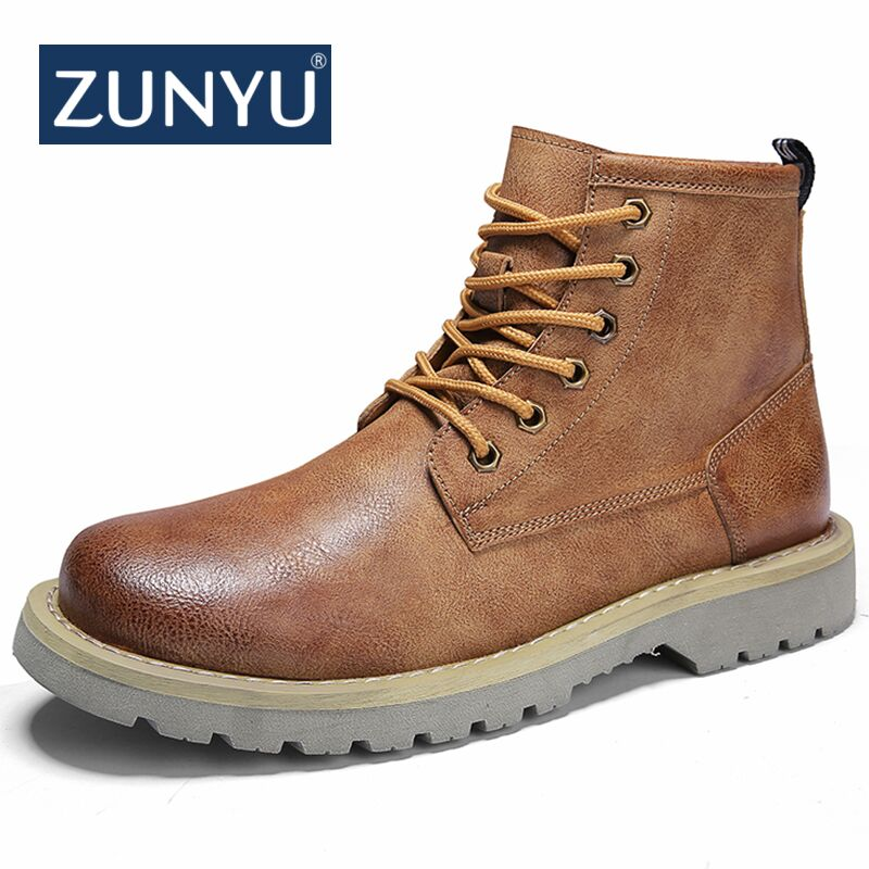 ZUNYU New Men's Boots Autumn Winter Ankle Boots 2018 Fashion Footwear Lace Up Shoes Men High Quality Vintage Men Casual Shoes