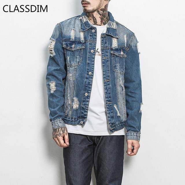 5742898133 CLASSDIM Men Holes Denim Jacket Coats Light Blue Jean Coats New Fashion Men  Cotton Denim Jackets Outwear Jean Coats