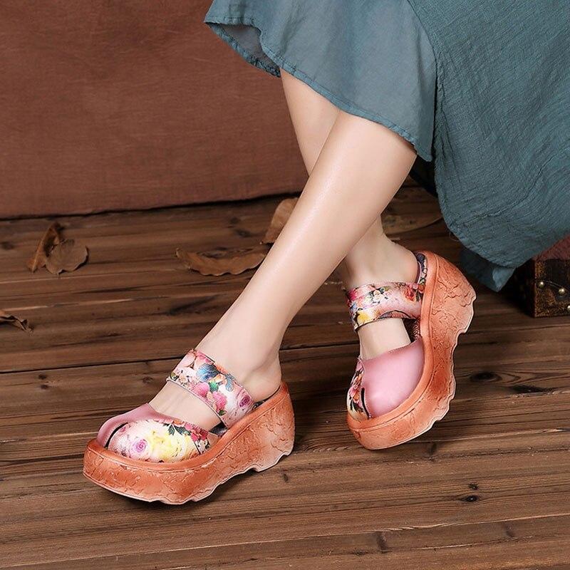 Nuevos zapatos de mujer estilo étnico bordado de cuero hecho a mano retro ocio muffin sandalias-in Zapatillas from zapatos    2