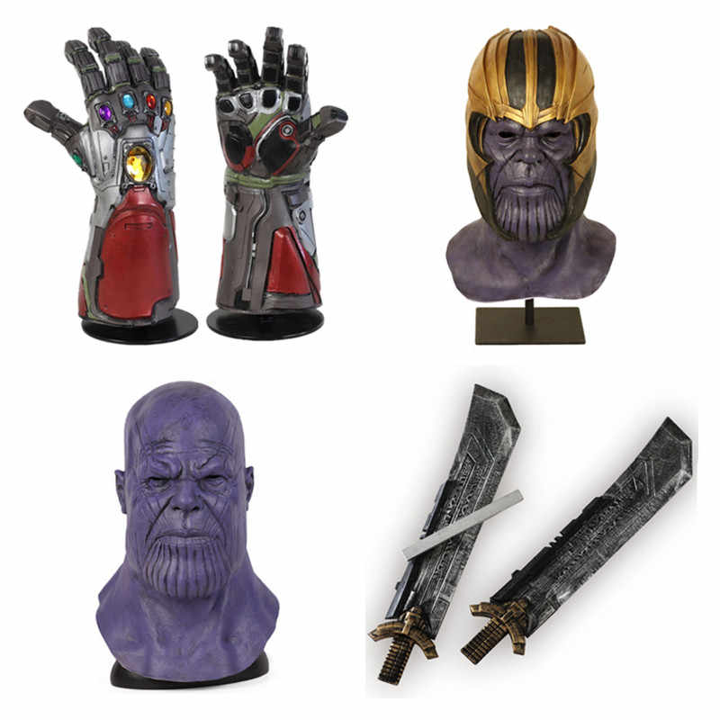 Avengers 4 Endgame Iron Man Infinity Gauntlet Hulk Cosplay Arm Thanos Latex Gloves Arms Mask Superhero Thanos Weapon Party Props