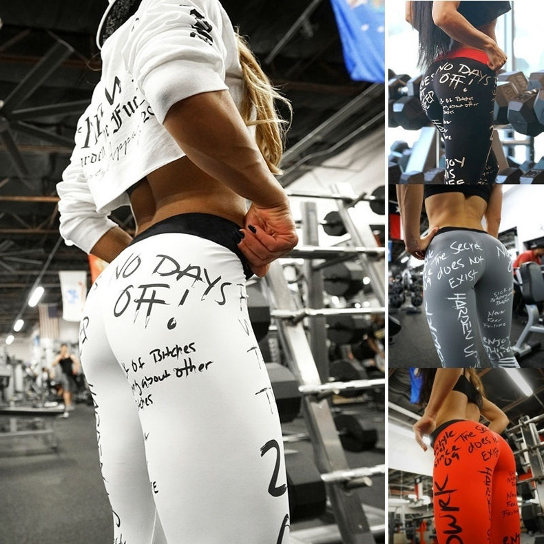 Tight-Pants Graffiti Printing Fitness Sexy High-Waist Push-Up Women's Ridan