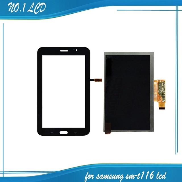 Para samsung galaxy tab 4 lite t116 sm-t116 novo painel de display lcd monitor + preto tela de toque digitador sensor de vidro