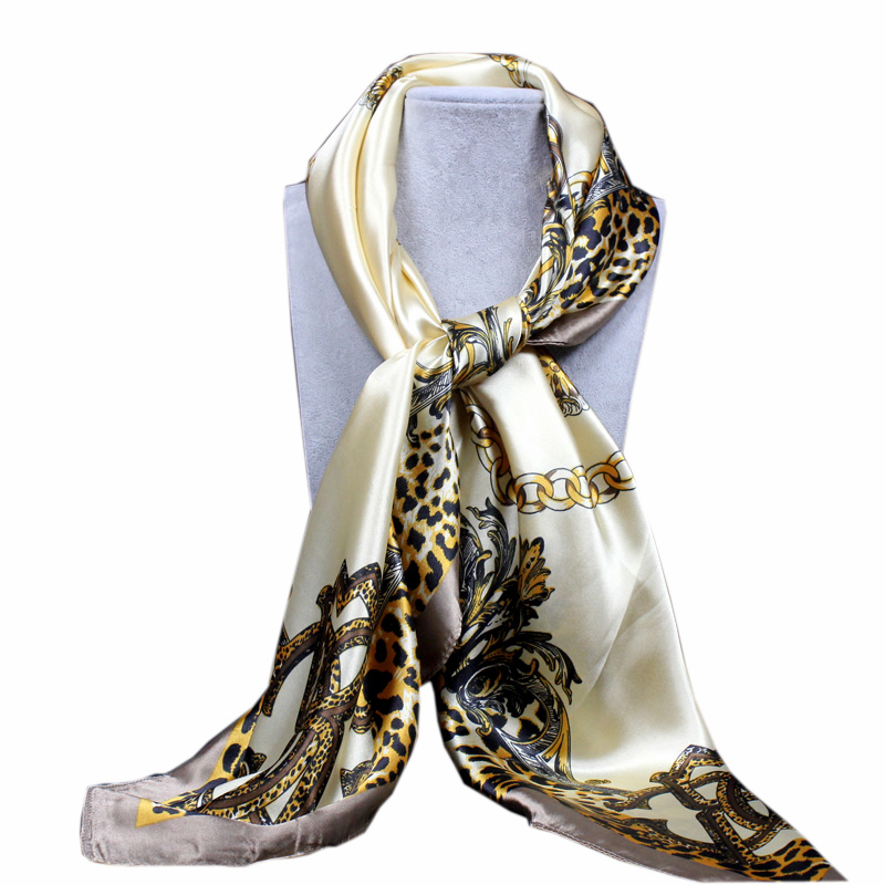 <font><b>90</b></font><font><b>*</b></font>90cm Square <font><b>Silk</b></font> <font><b>Scarf</b></font> Luxury Brand Women Leopard chain Print Neck <font><b>Scarves</b></font> Big Foulards Femme Bandana Handkerchief image