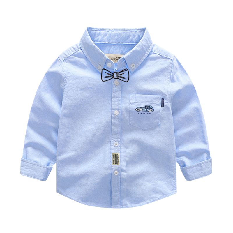 2018 New Arrival Full Sleeve Boy School Shirts Solid Turn-down Collar Cotton Blouses For 1-7 y