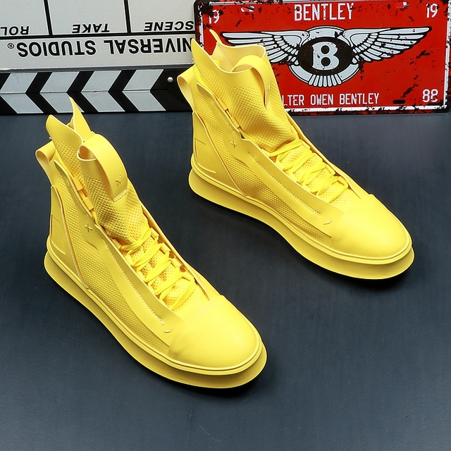cc519c37544 2019 New Men Casual Shoes Top Quality Pu Leather Men High Top shoes Fashion  Lace Up Breathable Hip Hop Shoes Men Yellow White