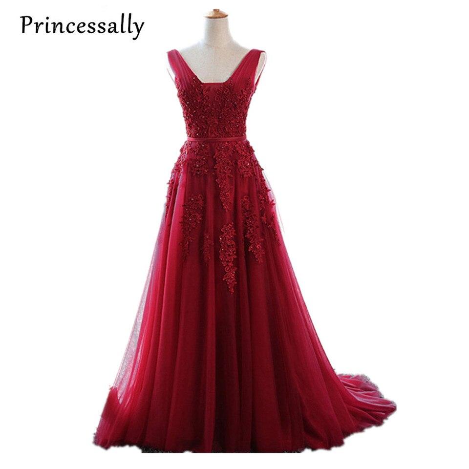 Robe De Soiree Wein Rote Spitze Perlen Lange Abendkleid Backless Braut  v-ausschnitt Ärmel Transparent Bankett Sexy Prom Kleid abendkleider lang
