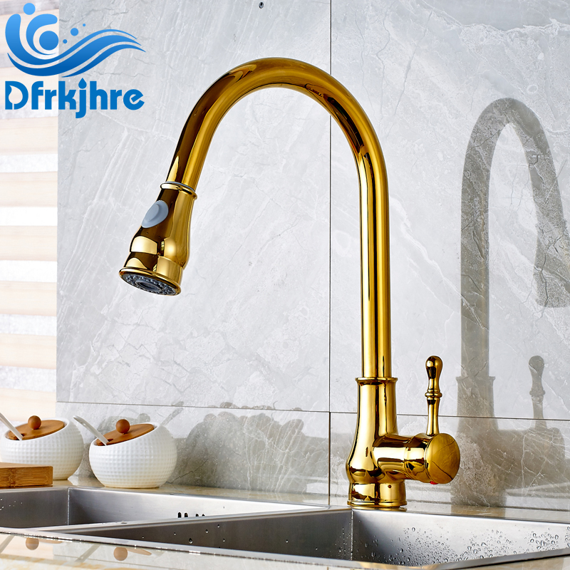 цена на Solid Brass Gold Finished Deck Mounted Bathroom Sink Faucet Pull Out and Swivel Spout Mixer Tap