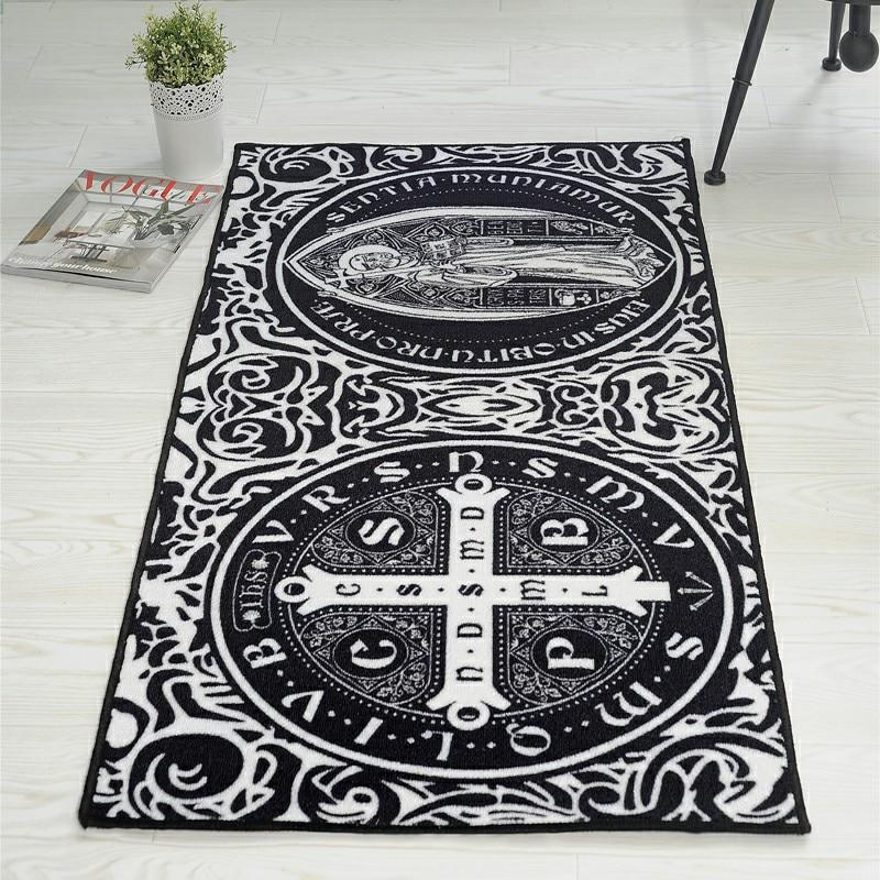 Tapis Vintage Oriental noir/blanc motifs de luxe tapis rectangulaire tapis Durable lavable antidérapant pour salon