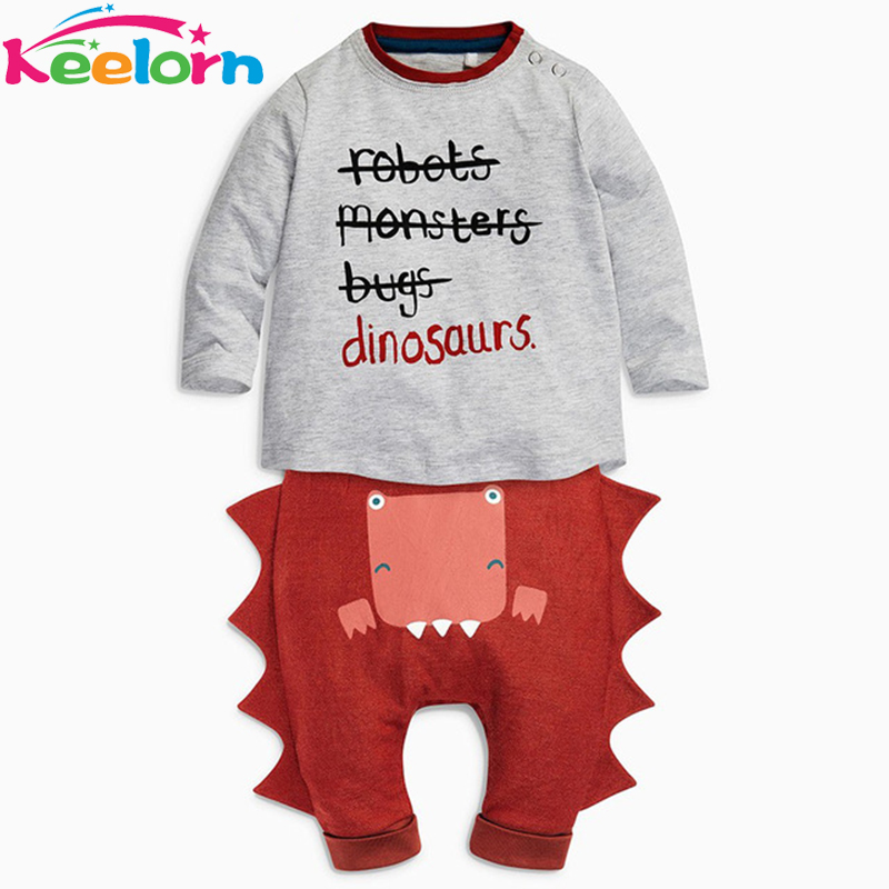 Keelorn Baby Clothing Sets 2017 New Autumn Halloween Baby Clothes Long Sleeve Letter T-shirt+Dinosaur Casual Pants 2pcs Suit he hello enjoy baby girl clothes sets autumn winter long sleeved cartoon thick warm jacket skirt pants 2pcs suit baby clothing
