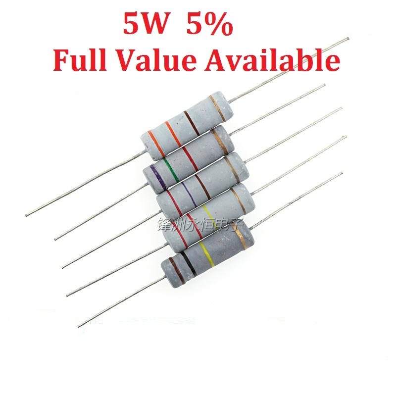 10PCS/LOT 5W 5.1K/5.6K/6.2K/6.8K/7.5K Ohm Metal Film Resistor 300 Ohm 5% 0.25W ResistorS 5W Color Ring  Resistance